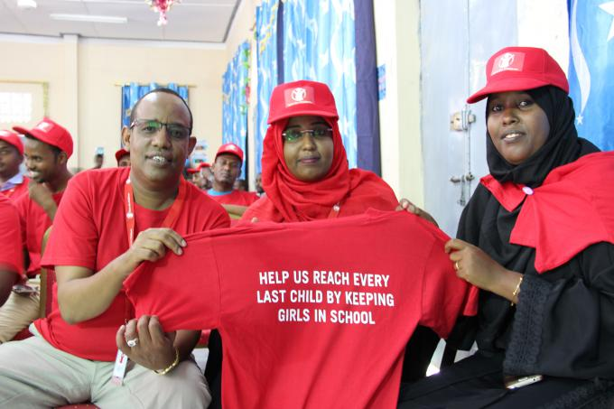 Girls' Education matters. We are campaigning for girls access to education in Somalia. Save the Children staff during the launch our Every Last Child Campaing. Photo Mowlid Mudan | Save the Children